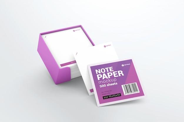 Nota de papel com maquete de suporte de plástico