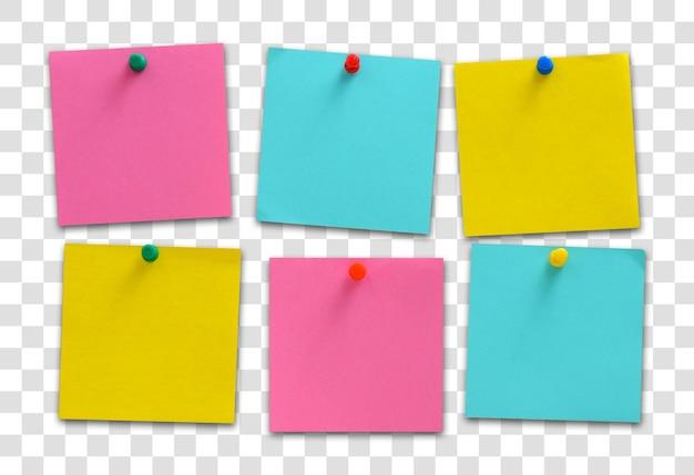 Notas coloridas em branco, arquivo psd em camadas