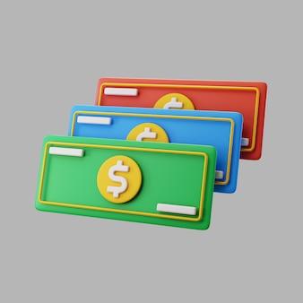 Notas de dólar de papel 3d