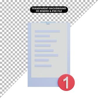Notas de ilustração 3d com busca de notificação de lista