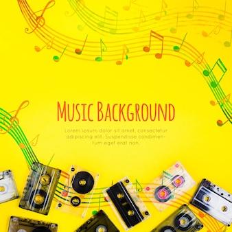 Notas musicais com fitas de música