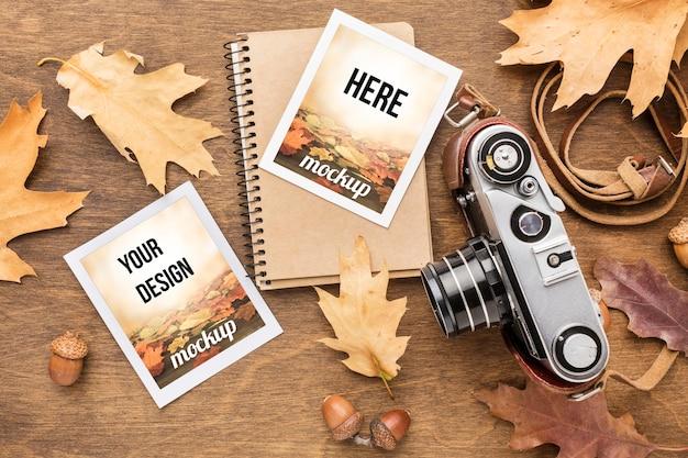Notebook com fotos e câmera