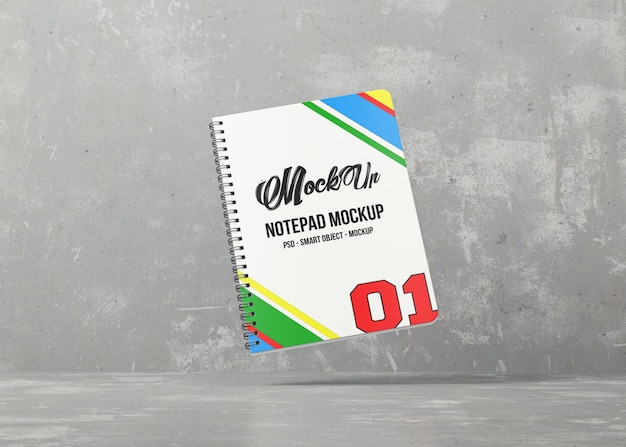 Notebook com maquete de capa colorida