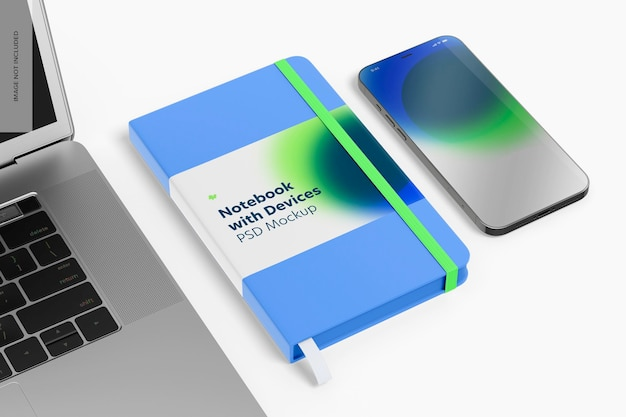 Notebook com mockup de dispositivos