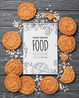 Notebook com moldura de biscoitos