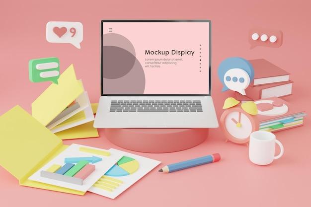 Notebook laptop com maquete de posicionamento de tela na mesa com muitos materiais de negócios