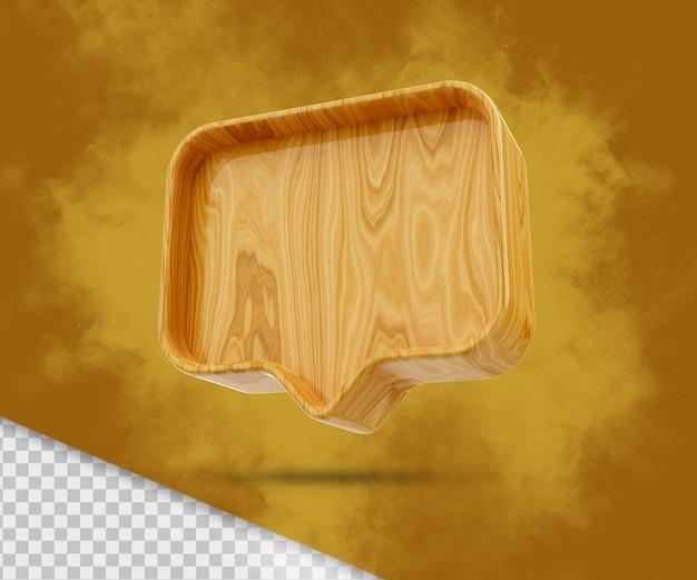 Notificação 3d de madeira em branco