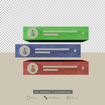 Notificação alerta mídia social ilustração 3d multicolor a pastel