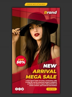 Nova chegada mega venda instagram modelo de banner de mídia social