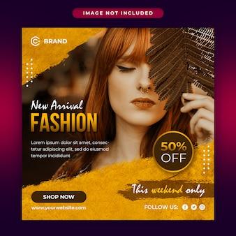 Nova chegada moda venda mídias sociais e modelo de banner da web