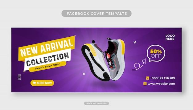 Nova coleção de modelo de banner de sapatos para capa do facebook