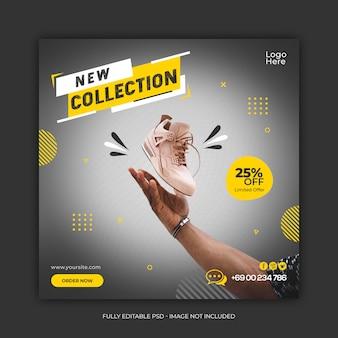 Nova coleção de sapatos modelo de banner de mídia social