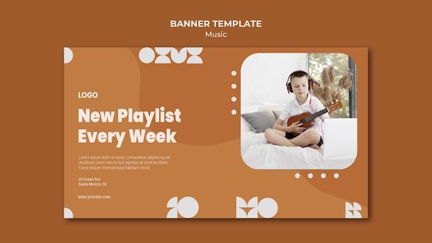 Nova lista de reprodução toda semana, garoto tocando banner de ukulele