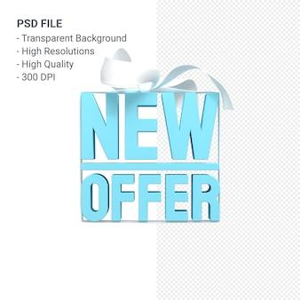 Nova oferta de venda de renderização de design em 3d para promoção de venda com arco e fita isolados