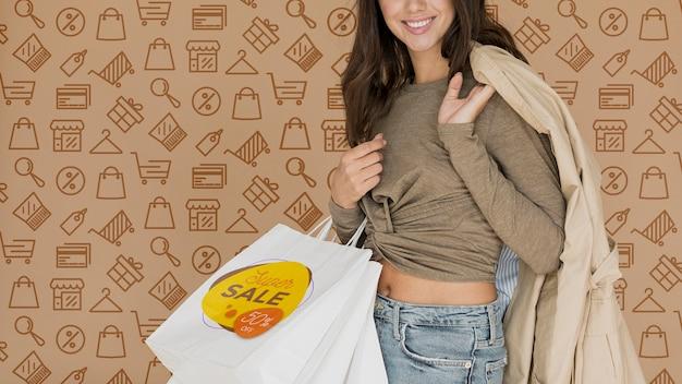 Novas aquisições compradas por mulher com ofertas especiais