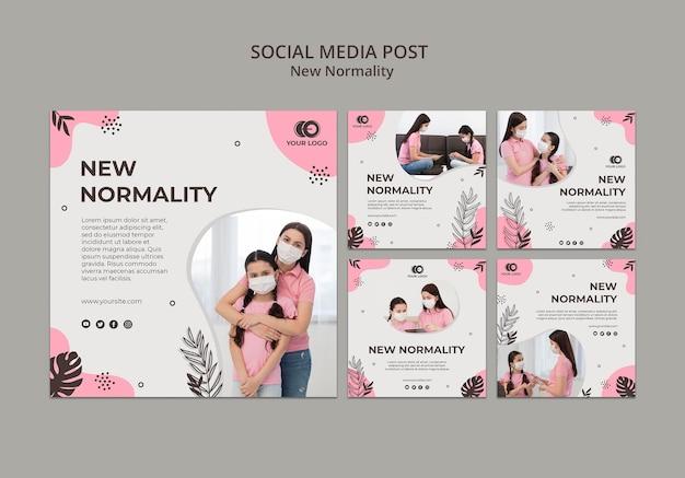 Novas postagens de mídia social de normalidade