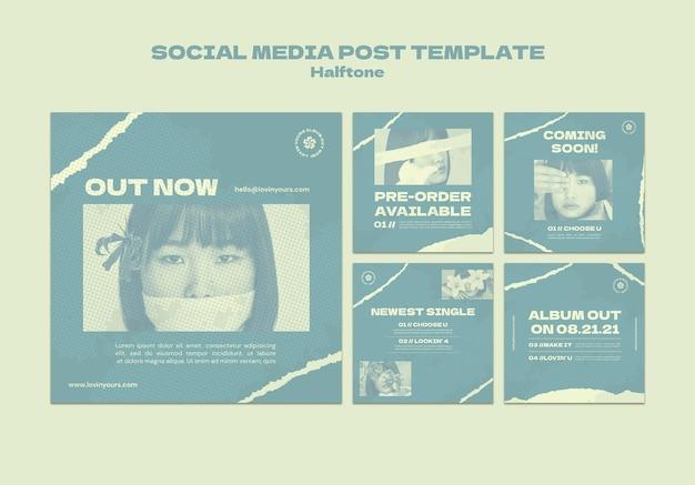 Novas postagens únicas de mídia social em meio-tom