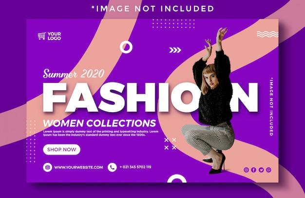 Novo banner de moda verão elegante venda