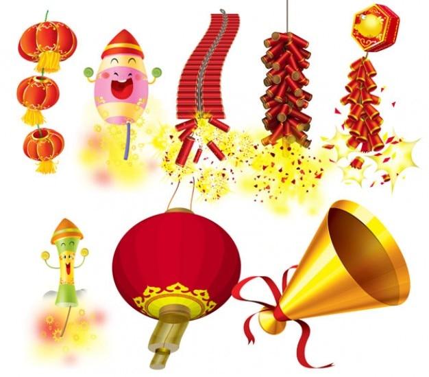 Novo chinês latterns e elementos tradicionais ano
