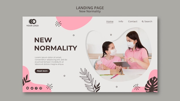 Novo design de página de destino de normalidade