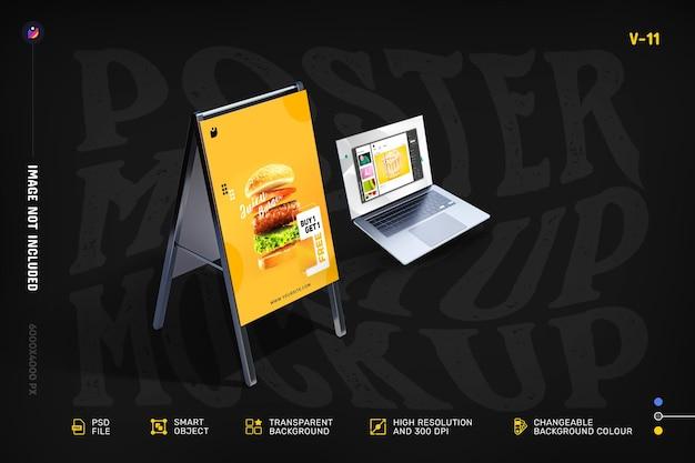 Novo flyer moderno e maquetes de tela do laptop