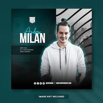 Novo jogador esports nas mídias sociais instagram post design template