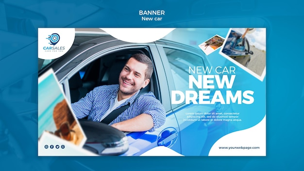 Novo modelo de banner de conceito de carro
