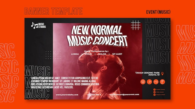 Novo modelo de banner de concerto de música normal