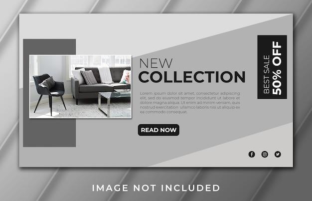 Novo modelo de banner de página de destino de móveis de coleção