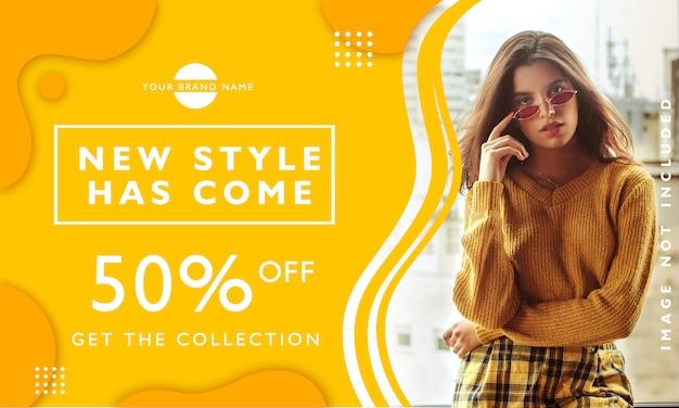Novo modelo de banner de promoção de venda de estilo