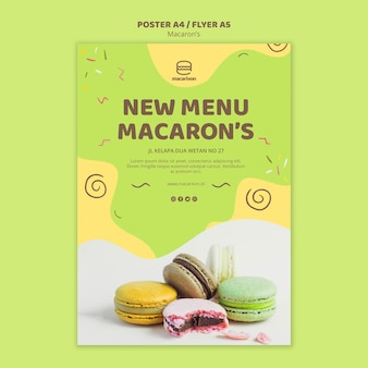 Novo modelo de cartaz do macaron de menu