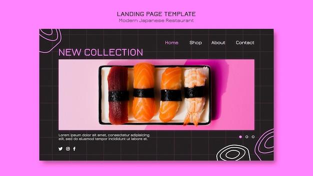 Novo modelo de página de destino de coleção de sushi