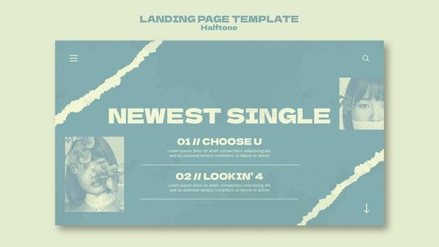 Novo modelo de página de destino único em estilo meio-tom