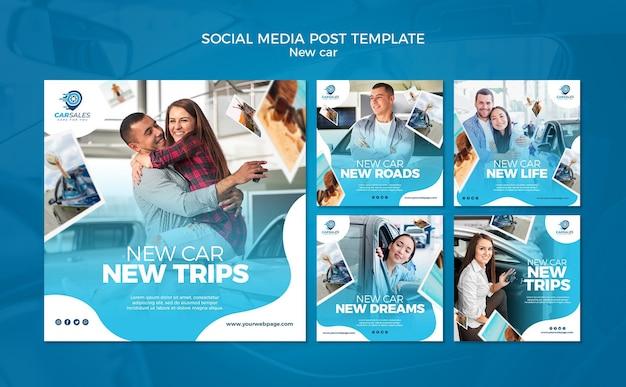 Novo modelo de postagem de mídia social de conceito de carro