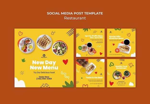 Novo modelo de postagem de mídia social do menu