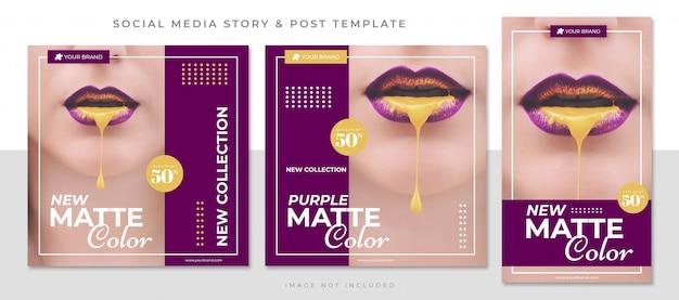 Novo modelo de postagem de mídia social em cores foscas