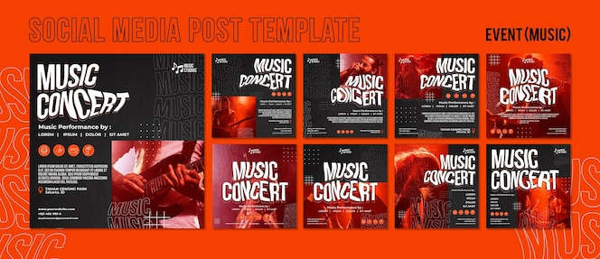 Novo modelo de postagens do instagram para concertos de música normal