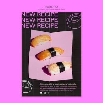 Novo modelo de pôster de receita de sushi
