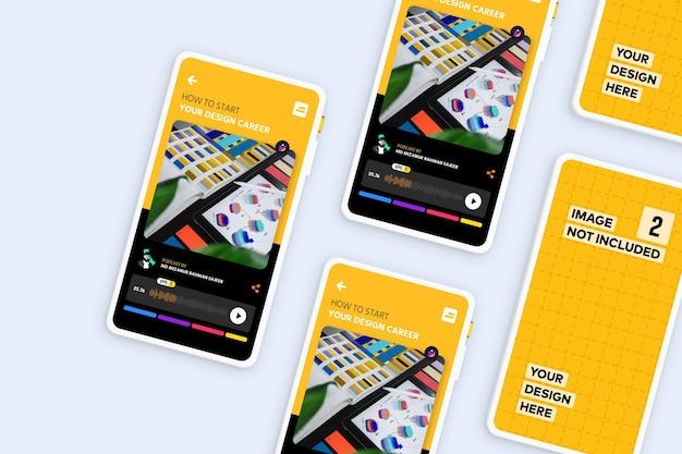 Novo modelo de promoção de aplicativo de tela de smartphone moderno