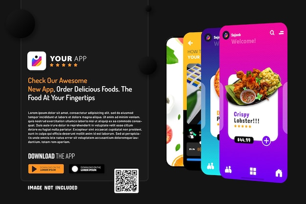 Novo modelo de promoção de aplicativo para smartphone, logotipo e botões de download com leitura de código qr