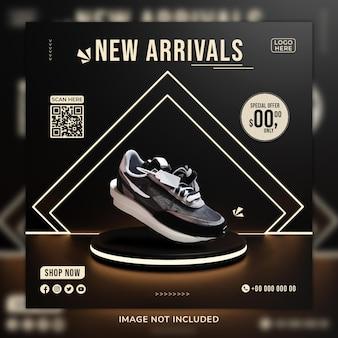 Novo post de mídia sosial de sapatos de chegada e modelo de banner da web com plano de fundo 3d