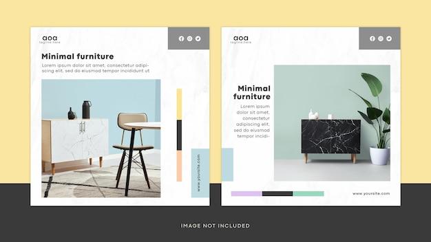 Novo post do instagram de design de interiores de móveis modernos ou coleção de modelos de flyer quadrado psd
