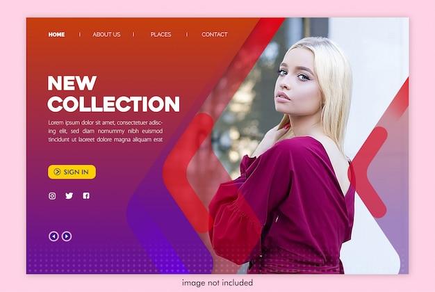 Novo site da página de destino da coleção com modelo de imagem