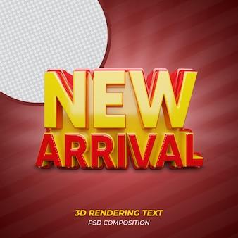 Novo texto de renderização em 3d de cor vermelha