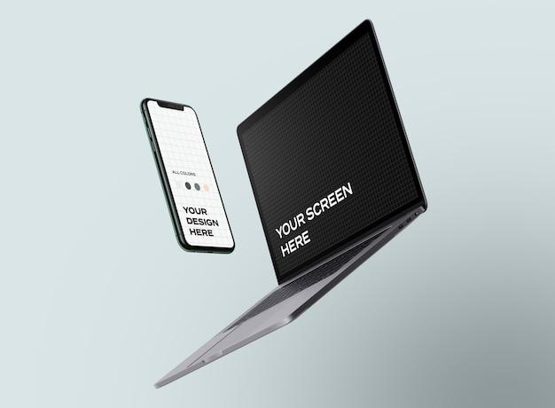 Novos modelos flutuantes de smartphone e laptop