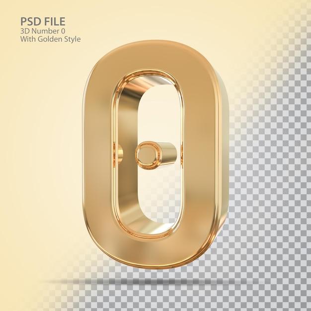 Número 0 3d com estilo dourado