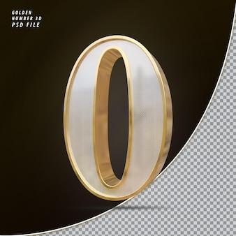 Número 0 3d luxo dourado