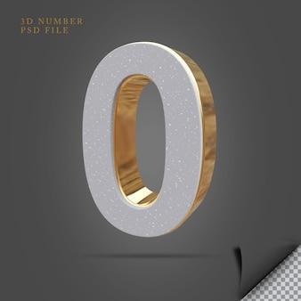 Número 0 3d render pedra com ouro