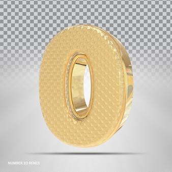 Número 0 com estilo 3d dourado