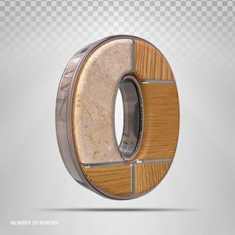 Número 0 conceito estilo madeira renderização 3d